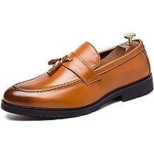 HILOTU Hombres Zapatos de Vestir Oxford Borla Clásico Casual Mocasines Sin Cordones Cuero de PU Superior