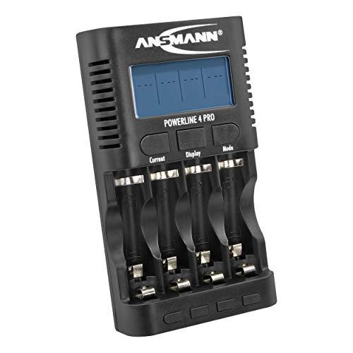 ANSMANN Batterieladegerät für 4x AA / AAA NiMH Akkus - Ladegerät mit 5 Ladeprogrammen: Laden, Entladen, Testen, Refresh, Schnellladen + USB-Lader | Powerline 4 Pro Akku-Ladegerät