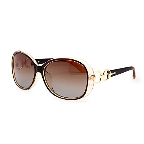 BVAGSS Polarisiert Sonnenbrille für Damen 100% UV400 Schutz Brillen (Brown Frame Brown Lens)