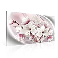 Pattern Floral Pink White Canvas Print - Photo Print - O1 - 100cm x 75cm - Premium 260gsm Canvas, Hand-Finished, Solid MDF Frame - 2.6cm Thick - Integrated Hanging Hook - Pattern and Ornament Collection - (PP2409O1)