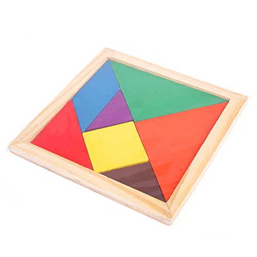 Newin Star Juego de Rompecabezas de Madera Tangram,Juguete de geometría de entrenamiento de cerebro de niños, arco iris de colores, 15x15x1.4CM