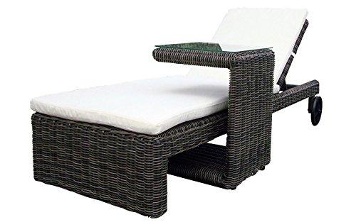 Baidani 10a00017 Garten Lounge Liege, Rattan, grau, 198 x 76 x 38 cm