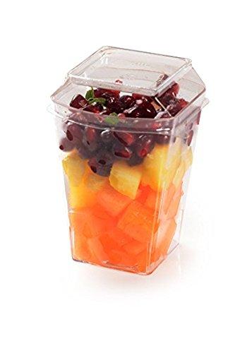 (Elegante Hard Kunststoff Mini Dessert Cups mit sicheren Deckel–113,4g (100)–10Stück)