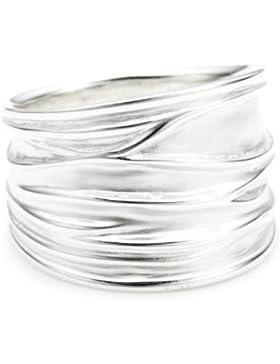 Vinani Damen-Ring breit Struktur sandgestrahlt glänzend Sterling Silber 925 RBM