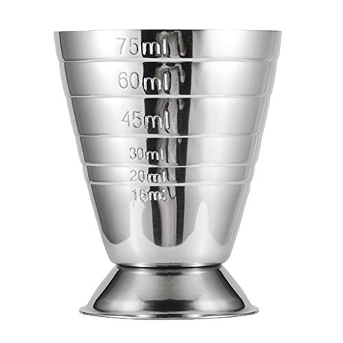 FLAMEER Edelstahl Barmaß Cocktailmaß Messbecher - Barzubehör - Silber, 75ml
