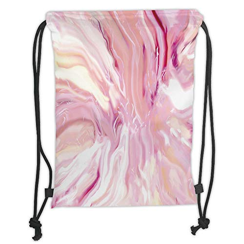 Fashion Printed Drawstring Backpacks Bags,Marble,Watercolor Brushstroke Style Hazy Mixed Colors in Murky Artistic Display Decorative,Magenta Coral Cream Soft Satin,5 Liter Capacity,Adjustable Stri -