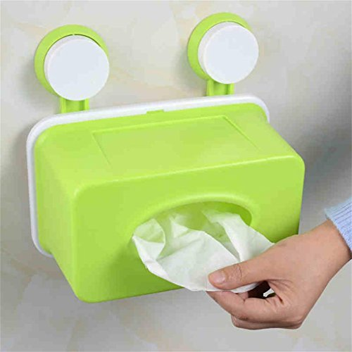wasserdicht Saugnapf Handtuchhalter Badezimmer Tissue Box Extraction Papier Toilette Rollenhalter Handschale Toilettenpapierhalter Punch Saugnapf Einfache Installation ( farbe : Grün )