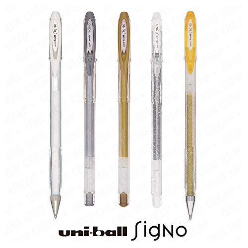 UNI-BALL SIGNO SPARKLING GLITTER, METALLIC AND PASTEL GEL INK ROLLERBALL PEN SET UM-120 (5 PEN SET) - Assorted Colours