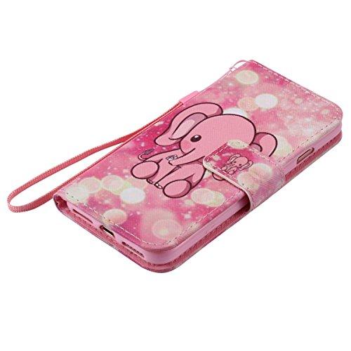 iPhone 7 Hülle,iPhone 7 Leder Brieftasche Hülle im BookStyle,SainCat PU Leder Wallet Case Lederhülle Folio Schutzhülle Ledertasche Hülle Bumper Handytasche Skin Schale Soft Backcover Handy Tasche Flip Pink Elephant