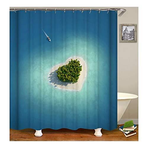 KnSam Duschvorhang Anti-Schimmel Wasserdicht Vorhänge an Badewanne Bad Vorhang für Badezimmer Herz Insel am Meer 100% PEVA inkl. 12 Duschvorhangringen 150 x 200 cm