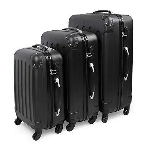 Todeco - Juego de Maletas, Equipajes de Viaje - Material: Plástico ABS - Tipo de Ruedas: 4 Ruedas de rotación de 360 ° - 51 61 71 cm, Negro, Esquinas protegidas, ABS