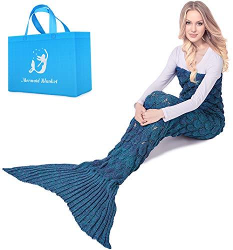 """Sakurra Decke Meerjungfrau Schwanz Decke für Erwachsene Weich Warm halten Knitting Schlafsack Decke mit Fischschuppen Grain 180CMx90CM(71""""x35.4"""") Blau"""