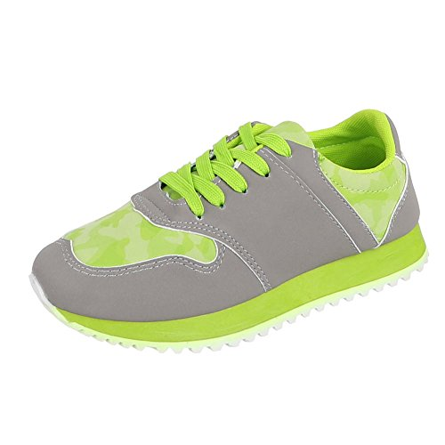 Chaussures femme, 207–1, loisirs chaussures à lacets Sneakers Gris - Grau Grün