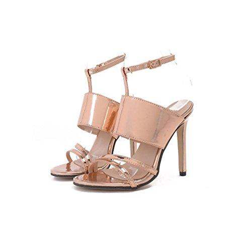 HYLM Gli alti talloni delle signore / l'inarcamento di parola con l'ammenda fine con gli alti talloni / sandali femminili del locale notturno Gold