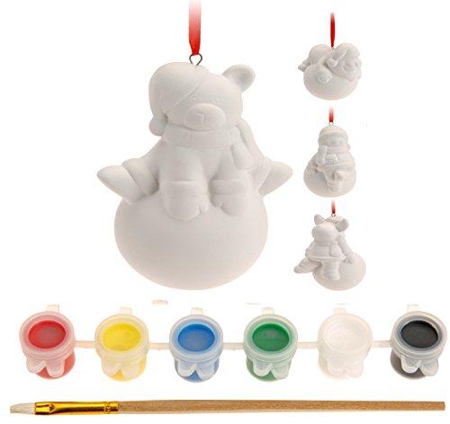 für Weihnachten / Weihnachtsmalset / Kindermalset aus Gips zum selbst Bemalen inklusive allem Zubehör wie Farbe Pinsel und Schlaufe zum Aufhängen - Malset für Kinder bestehend aus Weihnachtsmann Schneemann Elch/Rentier und Bär oder Pinguin - die tolle Bastel-Idee für die Weihnachtszeit - neu aus dem KAMACA-SHOP - Advent Weihnachten (Team Relax (Figuren unten rund)) (Weihnachts-ideen Für Erwachsene)