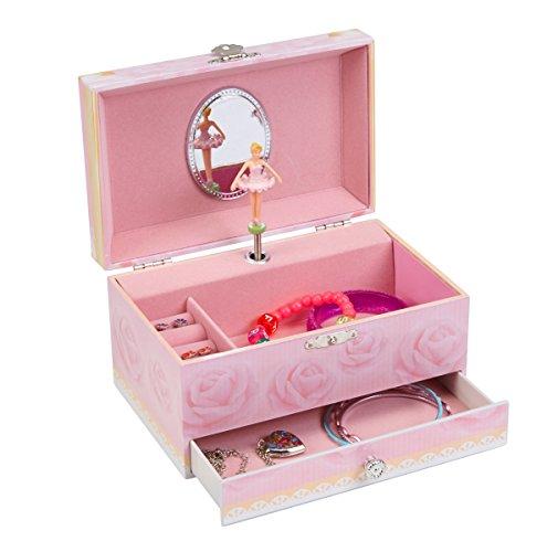 JewelKeeper - Spieluhr Schmuckkästchen mit Ausziehfächern, Rosa Rosen Design mit Ballerina - La Vie En Rose Melodie