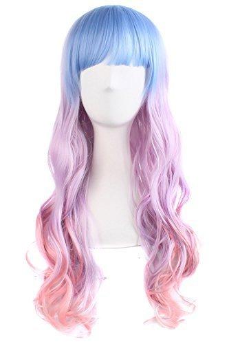 MapofBeauty 70cm/28 Pouce Longue Bouclé Femmes Bouclé Perruques (Léger Bleu/Léger Violet/Rose)