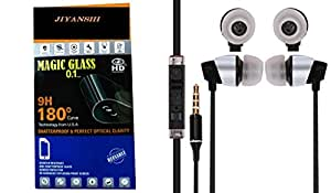Jiyanshi Combo of Screen Guard / Screen Protector & Earphone With Super Sound Black Compatible For Micromax Canvas Nitro 2 E311