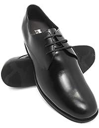 Modello Giacinto - 42 EU - Cuero Italiano Hecho A Mano Hombre Piel Negro Zapatos Vestir Oxfords - Cuero Cuero Repujado - Encaje