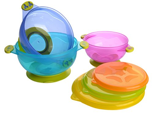 Reizbaby Stay-put Suction Feeding Bowl Set Stackable Baby Bowl with Snap Tight Lids Spill Proof BPA Free Training Bowls for Toddlers (3 count) 41TuEQ6cHkL