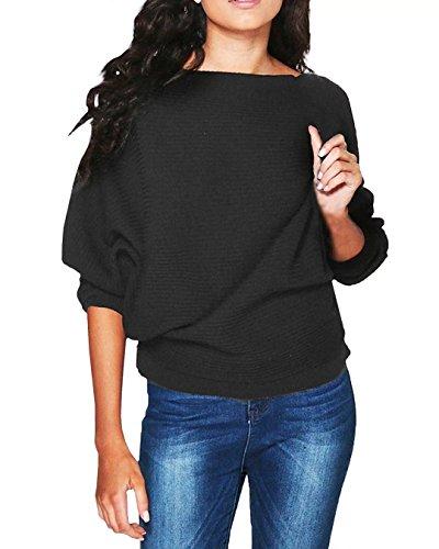 Yieune Damen Pullover Langarm Stretch Oversized Schulterfrei Knit Jumper Tunika Sweatshirt Gestrickt Mantel Batwing Bluse Schwarz XL