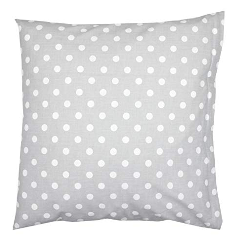 TupTam Kissenbezug Gemustert, Farbe: Tupfen Grau, Größe: 80x80 cm -