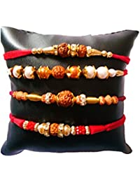 DMS Retail Set of 4 Different Pattern Multi Rudraksh Rakhi Set for Brother with Roli Chawal
