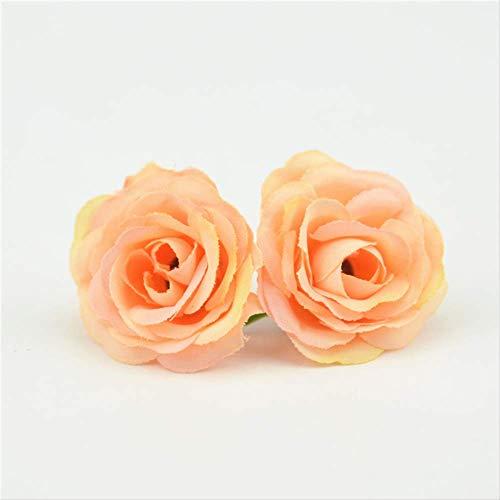 me 50 Stücke 3 cm Mini Rose Tuch Künstliche Blume Hochzeit Familienzimmer Dekoriert Hochzeit Schuhe Hut Zubehör SeidenblumeOrange ()