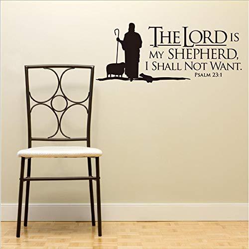 mgrlhm Psalm 23 Jehova ist Mein Hirte Wandbeschriftung Wandbild Vinyl Aufkleber Bibel Schrift Wandaufkleber Vinylaufkleber Christentum 136x56cm