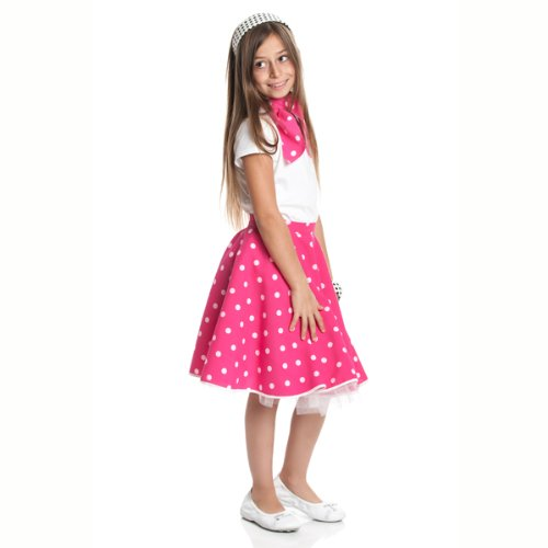 Kostümplanet® Rockn Roll Rock für Kinder fuchsia mit passendem Halstuch Kinder Rock n Roll Kinderkostüm