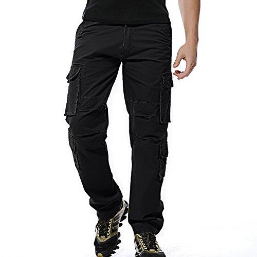 Sunshey Herren Cargohose in Übergröße Lang Arbeitshose aus Baumwolle mit mehrere Taschen Stretch Chino Stoff Hose,Schwarz,DE 48/Etikette 32
