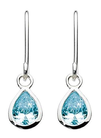 Dew Sterling Silver and Blue Topaz Teardrop Drop