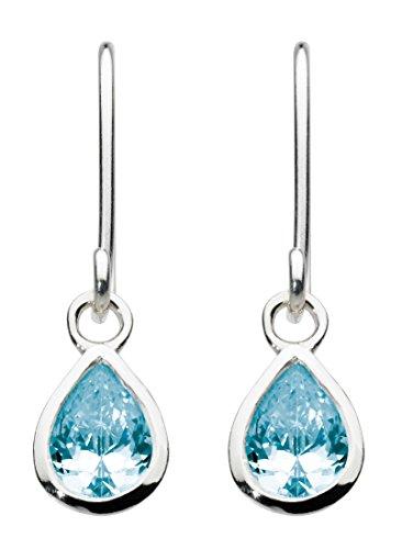 Dew-Collana in argento Sterling, con orecchini a goccia con topazio blu, 5031Bt