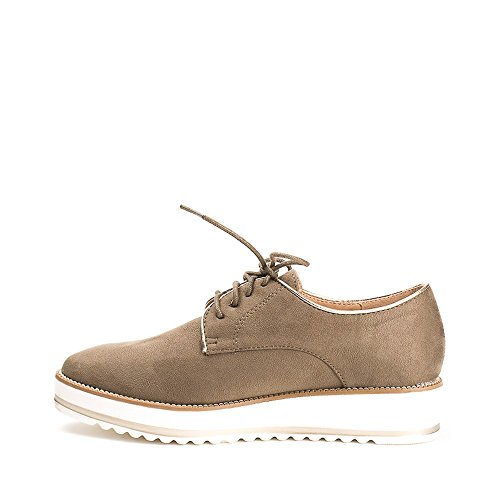 Ideal Shoes Derbies Effet Daim Acalia Taupe