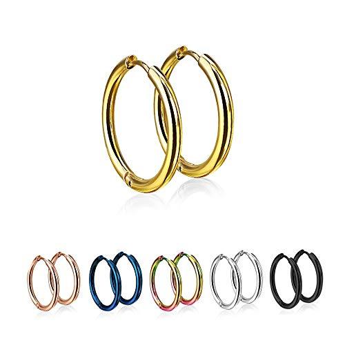 Treuheld® | Runde Creolen/Ohrringe aus medizinischem Edelstahl | 12mm | Gold | Schmale Klappcreolen für Damen und Herren | Set/Paar