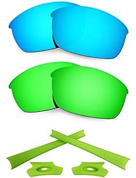 HKUCO For Oakley Flak Jacket Blue/Green Polarized Replacement Lenses And Light Green Earsocks Rubber Kit