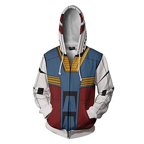 RJHWY 3D Hoodie Sweatshirt Unisex Pullover Kapuzenjacke Kleidung Mantel Reißverschluss Anime Top Gundam S (1600 Herren Kostüm)
