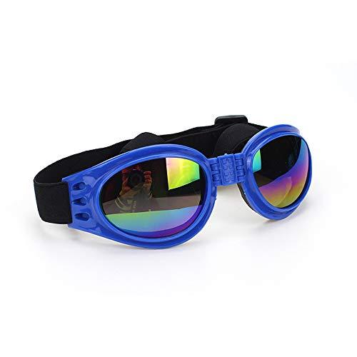 Vektenxi Faltbare Brille für Haustiere mit verstellbarem Riemen Hunde UV-Winddichte Sonnenbrille Schutzbrille tragen Schutzbrille (blau)
