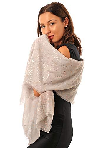 Abend Wrap Sparkle Schal für Frauen -leicht- Metallic-Folie Print Rose Gold Silber blau rosa weiß grau schwarz -übergroße Damen Schals Schals- Geschenk Frau - 50. Geburtstag - UK-