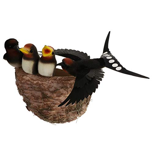 Fenteer Vogel Vogelnest Vogelfigur Kunststoff Handwerk für Haus Ostern Dekor, Creative Deko Idee - B: Vögel Familie
