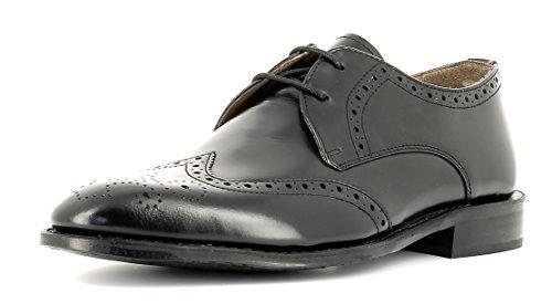 Gordon & Bros Herrenschuhe Mirco A500409 Klassischer rahmengenähter Schnürhalbschuh mit Derbyschnürung im Brogue Stil für Anzug, Business und Freizeit schwarz (Black), EU 46