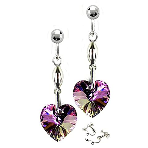 Purple Vitrail Swarovski Clip On Earrings Crystal Hearts Free Gift Box by Diosa Jewellery #HSP