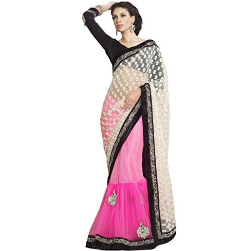 Aagaman Fashions Pure Net Sarees (TSMN2310_Pink)
