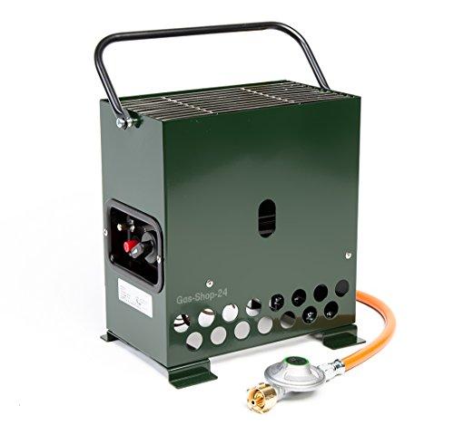 2,2 kW Gewächshausheizung grün / Frostwächter mit Gasschlauch + Druckminderer (Gasheizung, Heizung, Standheizung, Gewächshaus, Heatbox Campingheizung)