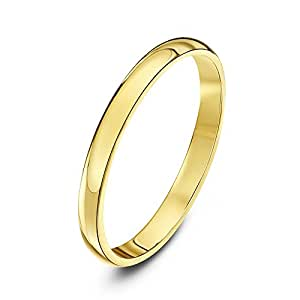 Theia Unisex Super Heavy D Shape Polished 18 ct Yellow Gold 2 mm Wedding Ring - Size K