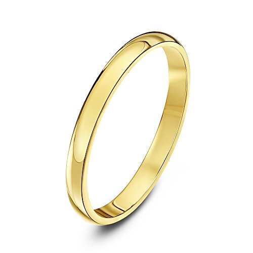 Theia Unisex Ehering 9 Karat Gelbgold, Sehr Massive D-Form, poliert, 2mm - Größe 54 (17.2)