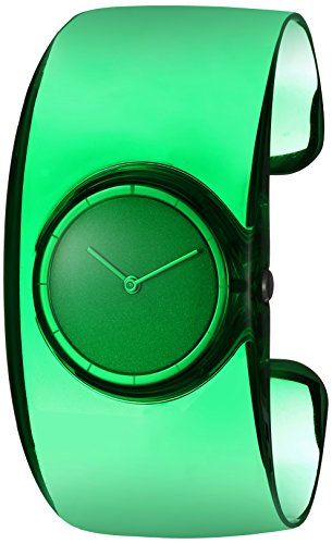 ISSEY MIYAKE Women's 'O' Quartz Stainless Steel and Plastic Casual Watch, Color:Green (Model: NY0W002Y)