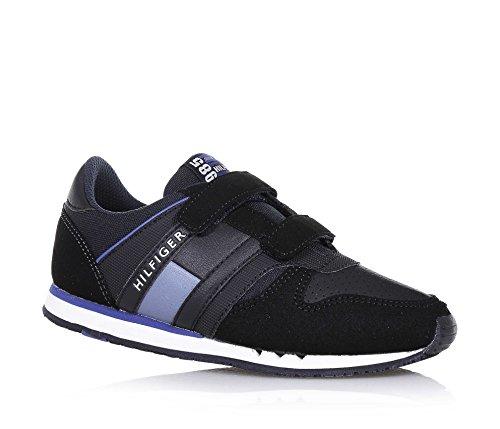 TOMMY HILFIGER - Chaussure noire en tissu, avec un design unique, avec fermetures en velcro, applications en cuir, logo latéral et sur la languette, garçon, garçons