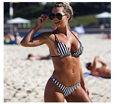 HJNBKC Ropa de Playa de Vacaciones de Playa de Verano con Cuello tendido a Rayas, Traje de baño Dividido a Rayas, Estilo Femenino. M