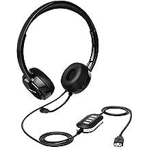Mpow Cuffie con microfono per Chat, cuffie multifunzionali USB & jack 3.5mm, per PC e Mac, adatto per chiamate Skype e conferenze, Riduzione Del Rumore della scheda audio & controllo su cavo